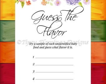 Baby Shower Game, Guess The Flavour, Shower Game, Flowers, Watercolors, Floral, Shabby Chic Baby Shower, Printable, Instant Download T706J