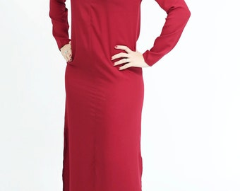 Red maxi long dress casual oversized loose Day Dress with long sleeve