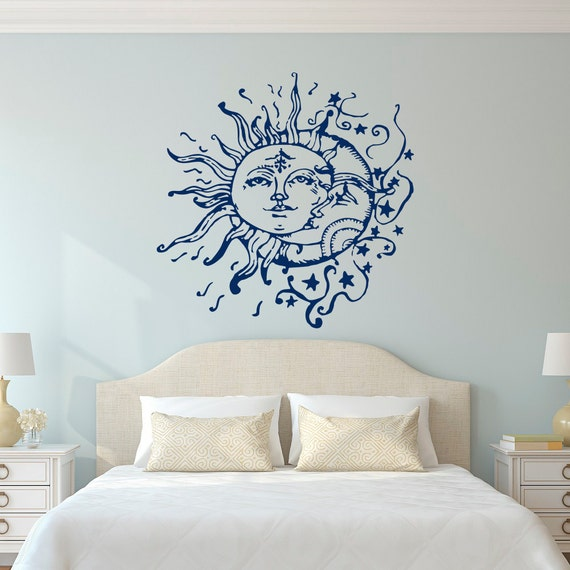 Sun moon stars wall decals for bedroom sun and moon wall - Wall painting ideas for bedroom ...