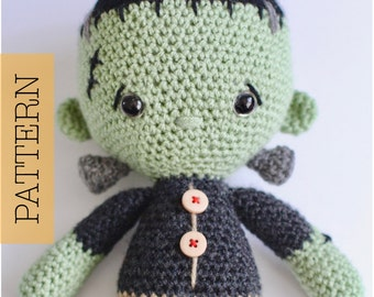 Crochet Frankenstein Amigurumi PATTERN ONLY, Franklin Monster, pdf Amigurumi Stuffed Toy Pattern, Halloween