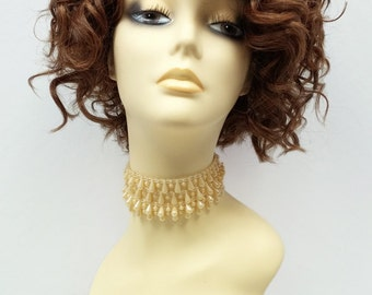 Light & Dark Auburn Copper Mix Short Curly Side Part Wig. Lace Front Heat Resistant Wig. Madonna Style Wig. [62-324-Mary-27/30/33]