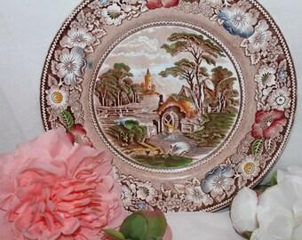 "Large platter 11 inch ""Rural England"" W.R.MIDWINTER Ltd. England"