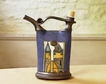 Handmade Blue Pottery Pitcher, Ceramics and Pottery Bottle. Ceramic pitcher. Handcrafted ceramic bottle, Wheel thrown pottery, Danko Pottery
