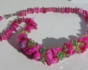 Necklace glass Crystal beads and shell pink fuhcia