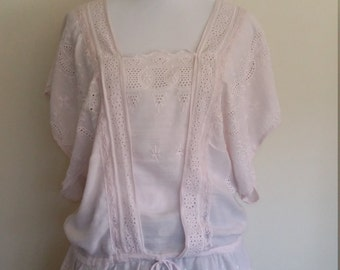 Drop waist top, L, drawstring top, pink top, cotton top, summer top, eyelet top, romantic top, mauve top, lace top, cotton lace top