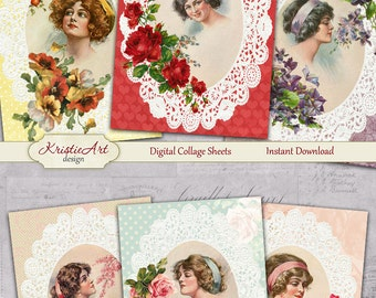 75% OFF SALE Vintage Ephemera ATC cards - Digital collage sheet, Printable Download, Digital Tags C155, Digital collage, Digital Image, Tag