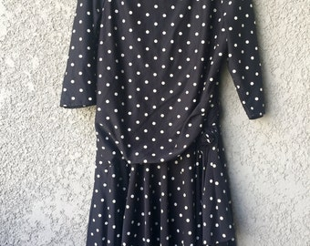 CLEARANCE Black polka dot GlenFrey Fashions dress
