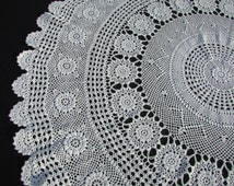 """1960's Round Ivory Hand Crochet Tablecloth/ Vintage handmade, filet crochet snowflake lace tablecloth, scalloped, ruffled edge/ 39 1/2"""""""
