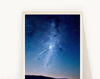Shooting Star Photo, Sky Photography, Printable Wall Art, Star Print, Instant Download, Modern Wall Art