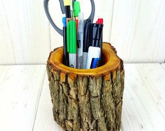 Osage Orange Wood Pencil Holder, Pen Holder, Office Decor, Wood Desk Organizer, Pencil Cup, Desk Accessory, Teacher Gift, Rustic Décor