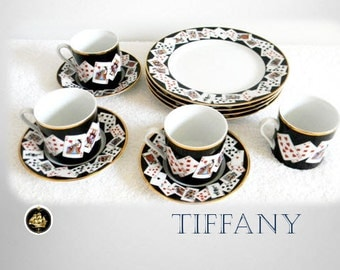 Tiffany luncheon set with playing cards pattern