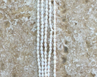 """Seed Pearl Beads - Teeny Tiny Oval Freshwater Seed Pearl Beads - FULL 16"""" strand (about 178 beads) - G418"""