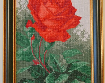 "Handmade cross stitch pattern ""Red Rose"""