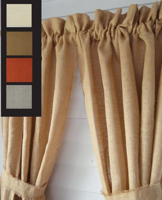 burlap window curtain panlels you choose the color natural. Black Bedroom Furniture Sets. Home Design Ideas