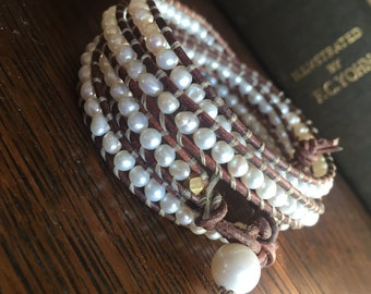 Leather & pearl wrap bracelet