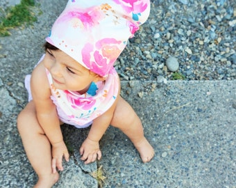 Baby Slouchy Beanie, Slouchy Beanie, Slouchie Beanie, Baby Hat, Toddler Beanie, Beanie, Watercolor Flowers, Baby Shower Gift
