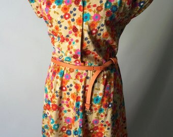 Handmade Bright floral midi dress with capped shoulders