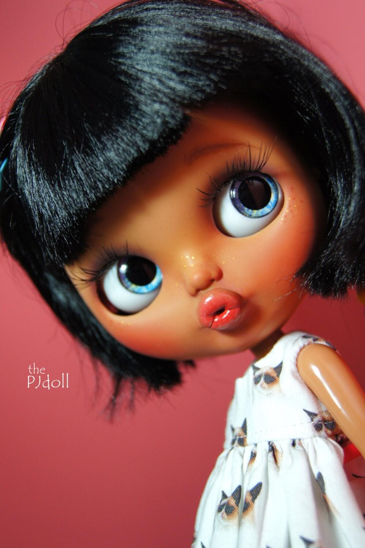Thepjdoll Sally Custom Blythe Doll Tan Girl Ooak By Thepjdolls