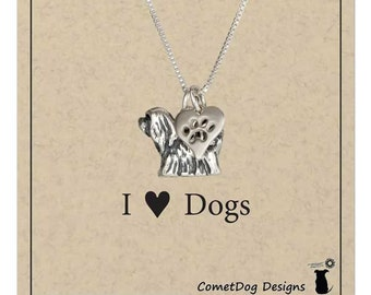 Sterling Silver Lhasa Apso dog pendant necklace with paw print heart charm