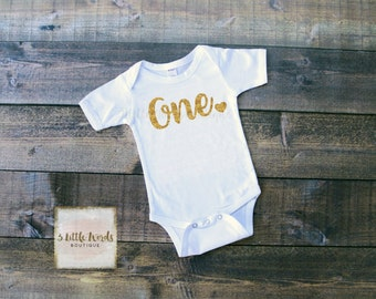One Onesie with Heart on Bum | One Shirt | 1st Birthday Shirt | First Birthday Outfit | Gold Glitter One Onesie | Onesie and Tutus