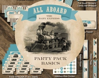 Train Baby Shower Party Pack Basics, Vintage Train Party Pack Basics, All Aboard Party Pack Basics, Train Baby Shower Printables