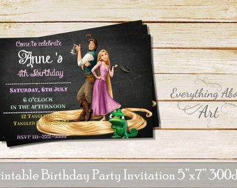 Tangled Invitation, Rapunzel invitations, Tangled birthday, Rapunzel birthday Invite, Tangled invites, Rapunzel invite, Tangled party invite