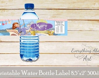 Sofia the first Birthday - Sofia the first water bottle labels - Sophia the first Water bottle wraps - Water Bottle label Princess Sophia