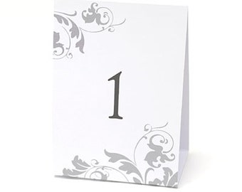 Table Number Tents - White - Table Number - Flourish Design