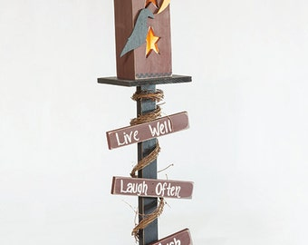 Rustic Wood Lighted Post with Primitive House and Live Well Laugh Often Love Much Signs - Handmade - Amish Made in the USA