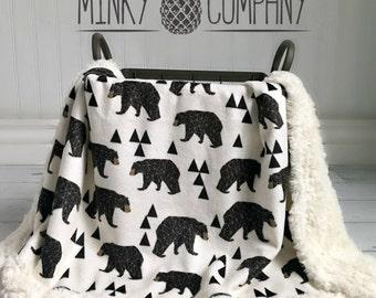 Bear Baby Blanket - Geometric Bear - Designer Minky -  Ivory