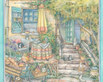 At Home in Cotignac -  Watercolor Painting by Kim Jacobs