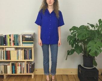 irish linen primary blue collared shirt (m/l)