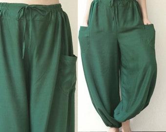 SALE 30 % OFF, Summer Harem Yoga Cotton Pants, Comfy, Baggy, Elastic Drawstring Waist, Loose Fit Roomy Boho Gypsy Jinny Pants, Green