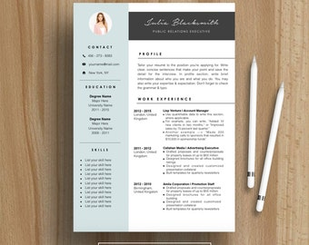 Professional Resume Template | CV Template | For MS Word | Instant Download  | Modern Creative  Resume Template For Mac