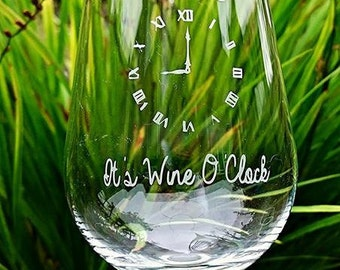 Personalised Engraved Wine Glass - It's Wine O'clock