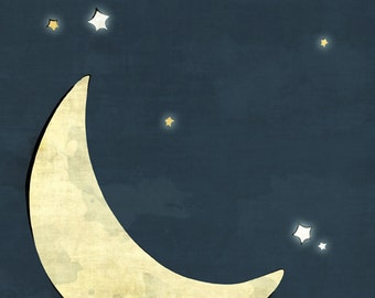 Moon and Stars Nursery Print - Yellow and Navy Kids Room Decor