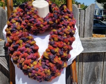 """Extra Chunky Knit """"Falling Leaves"""" Infinity Scarf"""