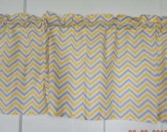 Yellow And Gray Chevron Zig Zag Curtain Valance