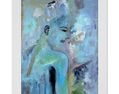 Blue woman abstract, blue abstract painting, blue figurative woman original abstract, living room decor 24x16 collectible art prints signed