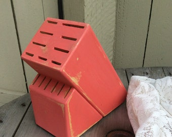 Shabby Chic Knife Block in Lovely Coral