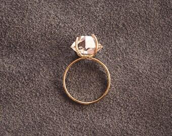 14k Gold Herkimer Diamond Ring