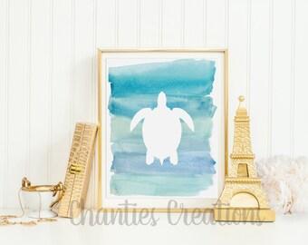 Sea Turtle Blue Ombre Watercolor Silhouette Wall Decor Printable Wall Art Beach House Print Nautical Nursery Wall Decor Ocean Print