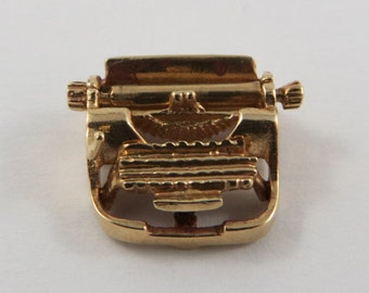 Typewriter Mechanical 14K Gold Vintage Charm For Bracelet