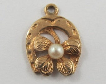 Horseshoe and Four Leaf Clover With a Pearl 10K Gold Vintage Charm For Bracelet