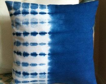 "Shibori indigo dyed cotton pillow cover 16"" x 16"""