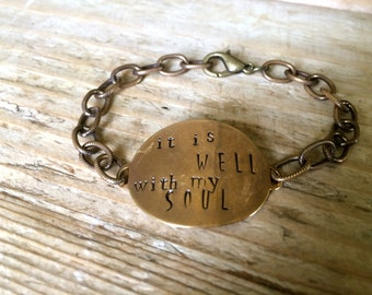 The {it is well} textured Chain Bracelet