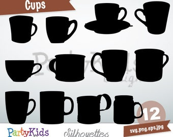 Cups Silhouette, instant download, PNG, JPG, SVG, eps files