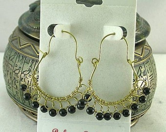Black Obsidian Crocheted Hoops - Tribal Native American - Egyptian