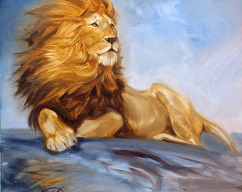 Lion painting oil Original oil painting on canvas Animal painting