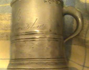 Antique Pewter Half Pint Tavern Mug Circa 1840
